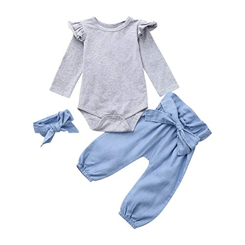 BOBORA 3PCs Vêtements de Bébé Filles Barboteuse à Manches Longues en Coton + Pantalon Bloomer + Bandeau Oreille de Lapin