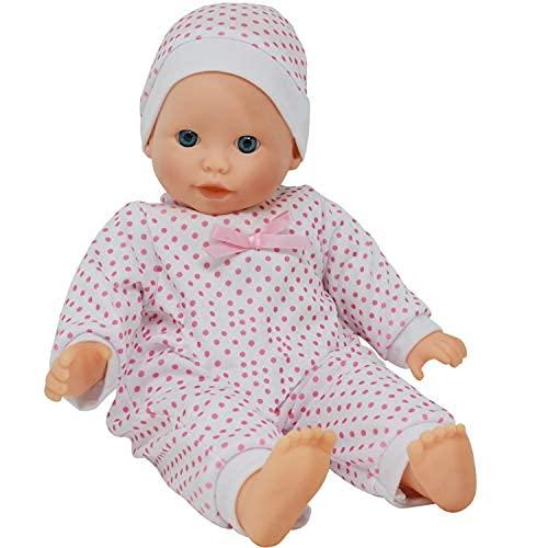 The New York Doll Collection morbido Corpo caucasico Bambino 14 pollici / 36 cm Bambola - Vestibilità fascia e Rosa Vestito (indennità pacificatrice incluso)