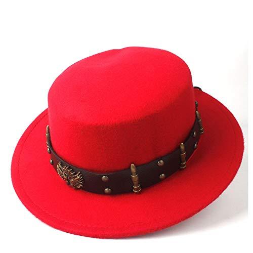 HOUJHUS Steampunk Mujeres Hombres Lana Top Plano Sombrero Fedora Sombrero de ala Ancha Sombrero de Iglesia Fascinador al Aire Libre Sombrero Informal Tamaño 56-58CM (Color : Rojo, Size : 56-58)