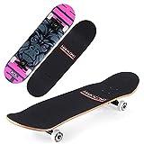 VOMI Skateboard Niña, Completa Patineta 79 x 20 cm 7 Capas Monopatín de Arce Madera con Rodamientos ABEC-9, Tabla Doble Patada Longboards para Principiantes Niños Adolescentes Adulto