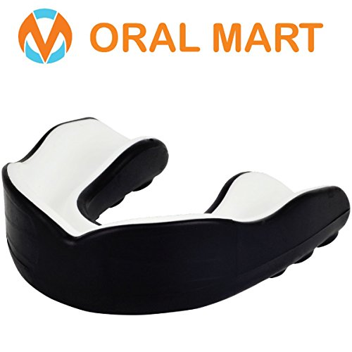 Oral Mart Black/White Youth Mouth Guard for Kids - CUSHION Youth Mouthguard for Karate, Flag Football, Martial Arts, Taekwondo, Boxing, Football, Rugby, BJJ, Muay Thai, Soccer, Hockey (With Free Case)