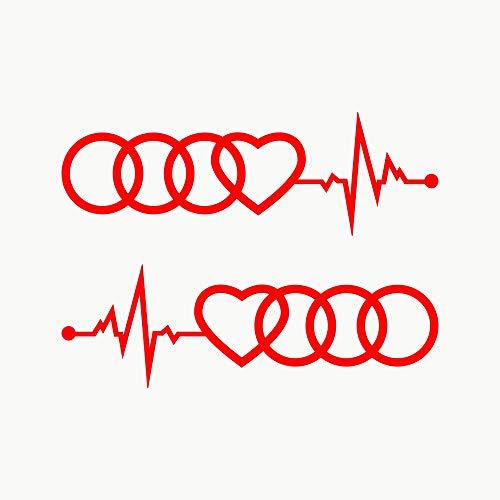Autodomy Kompatibel mit Audi Reifen Herz Cardio Aufkleber Paket 2 Stück für Auto (Rot)
