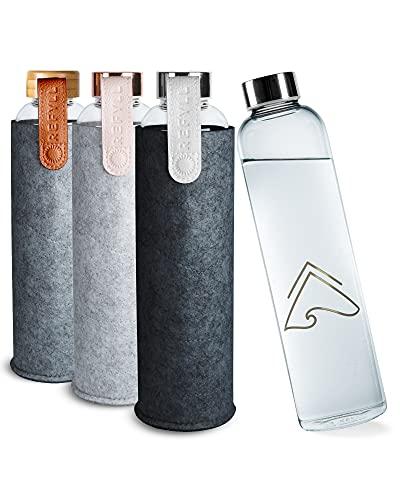 REFYLL Borraccia in vetro con custodia in feltro 'pureFyll', 750 ml, in vetro con custodia protettiva, 0,75 l, bottiglia d'acqua di design in vetro borosilicato con cover (argento)