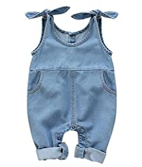 Cotton blend with denim fabric, soft and comfortable for infant baby girls or toddler. Machine washable, hand-wash recommend. Do not bleach. Denim bodysuit, halter sleeve one piece romper with two pocket. Snap bottoms ended, easier to change diapers....