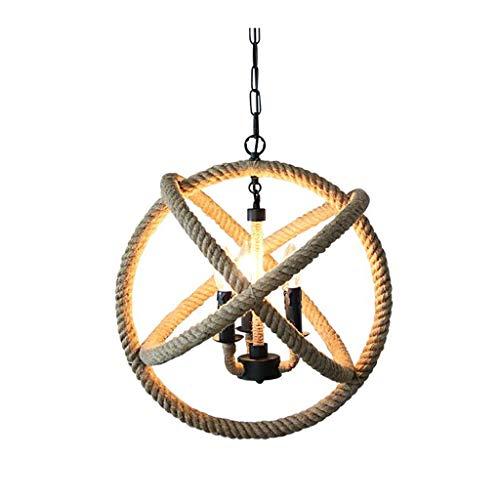 Retro Industrial Hemp Chandelier 3 gloeilampen Globe metalen kandelaar verlichtingslichaam ijzeren frame plafondlamp personity restaurant bar licht