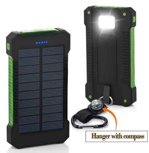 Cargador Solar y USB movil Portatil con 30000 mAh Power Bank Bateria Externa 2 Puertos de USB Panel Solar con Alta Eficiencia de Conversión Impermeable + Linterna LED + Brujula, Colores Varios (Negro)