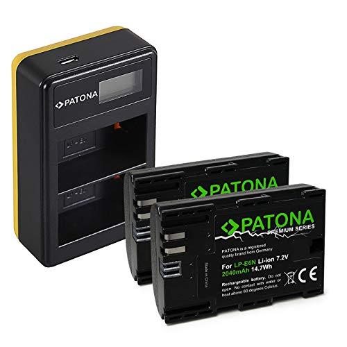 PATONA Caricatore doppio LCD USB con 2x LP-E6N Premium Batteria compatibile con Canon EOS R, 5D Mark II III IV, XC15, 70D, 80D, 90D