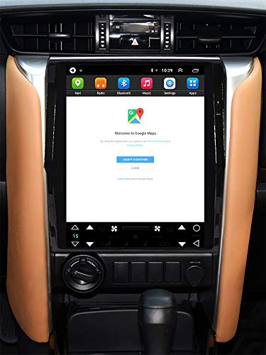 Topdisplay Android 9.1 Radio for Toyota Fortuner 2016-2020 12.1inch Tesla Style Car in-Dash Console DVD Player Radio Stereo IPS Touch Screen 2+32GB Bluetooth WiFi GPS Navigation Build-in Maps