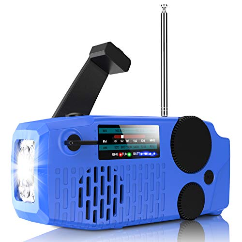 Geartist Submarine 1 Solar Emergency Weather AM FM NOAA/WB Alert Hand Crank Wind up Radio with SOS, 2000mAh Power Bank Led Flashlight for Hurricane Earthquake Disaster Survival Supply, USA Designer