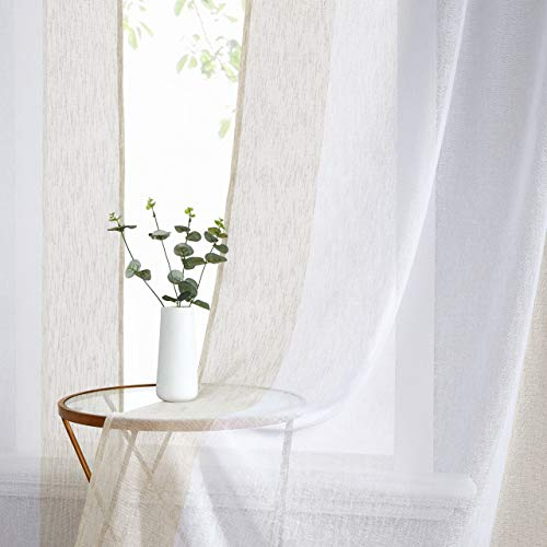 WEST LAKE Linen Sheer Curtain Color Block Panels Textured Rod Pocket Curtains Colorblock Window Drapes for Living Room, Bedroom, 40 x 95 Inches, Beige White,Tan White, Set of 2 Panels