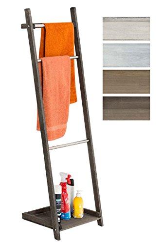 CLP Toallero De Pie Kyoto I Toallero De Baño con 3 Barras de Metal & Estructura De Madera I Toallero En Estilo Rústico I Color: marrón Oscuro