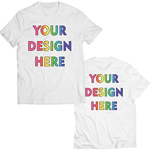 lepni.me Camisetas Hombre Impresión Personalizada de 2 Caras en el Frente y en la Parte Posterior, Texto Personalizado o Diseño de su Propia Imagen (Large Blanco Multicolor)