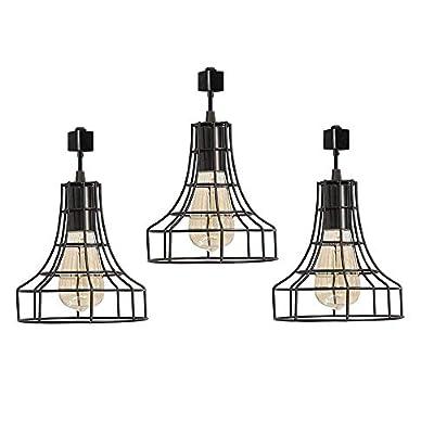 Industrial H-Type Track Pendant Lighting Commercial Track Lighting- Rustic Adjustable Industrial Track Light- Kitchen Track Lighting,Set of 3