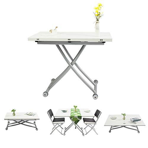 Beliwin Lift Top Couchtisch Weiß Höhenverstellbar 2-teilige Oberfläche Esstisch für Wohnzimmer und Büro