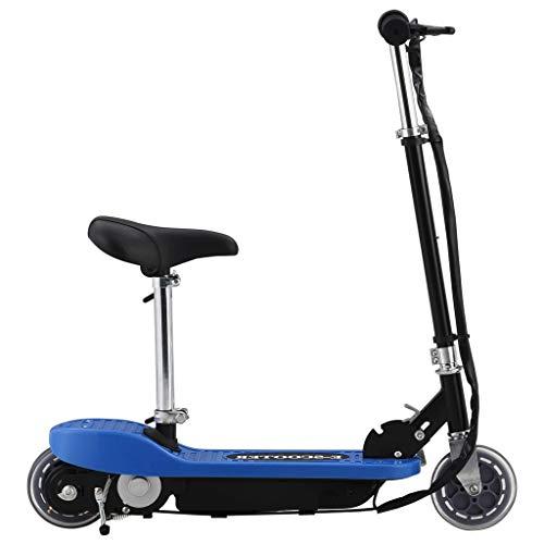 vidaXL Elektroroller mit Sitz Klappbar Einstellbarer Lenker Sitzhöhe Kinderroller Roller Tretroller Scooter Cityroller E-Scooter 120W Blau