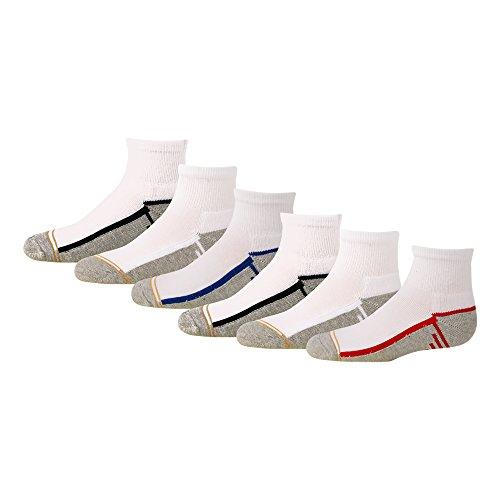 Gold Toe Big Boys' 6 Pack Athletic Quarter Sock, White/Multi, Medium