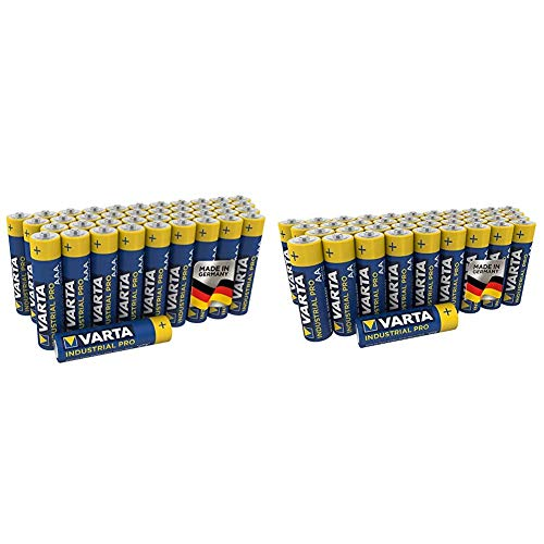 Varta Industrial Batterie AA Mignon Alkaline Batterien LR6-40er Pack & Industrial Pro Batterie AAA Micro Alkaline Batterien LR03 (umweltschonende Verpackung (40er Pack), Design kann abweichen)