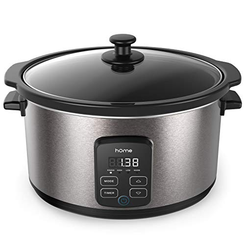 hOmeLabs 6 Quart Programmable Slow Cooker - Stainless Steel Exterior, Removable Non-Stick Crock and 10-Hour Timer with Auto Shut-Off