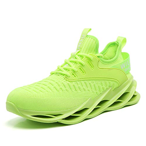 SKDOIUL Running Sneakers for Men Size 9.5 Fluorescent Green Casual mesh Walking Shoes Runner mesh Jogging Stylish Comfort Athletic Tennis Sneakers