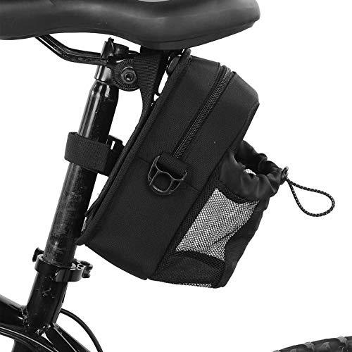 FOTABPYTI Bolsa de Ciclismo, Bandolera Negra 20x11x7cm Debajo del Asiento Bolsa de Almacenamiento de Bicicletas con Soporte para Botella de Agua para Bicicletas de montaña Plegables de Carretera
