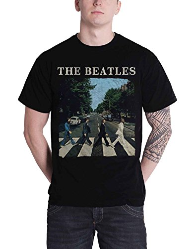 The Beatles T Shirt Abbey Road Crossing Band Logo Nue offiziell Apple Herren