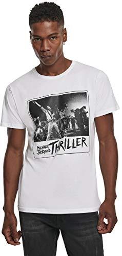 MERCHCODE Camiseta para Hombre Michael Jackson Cover, Hombre, Camiseta, MC450, Blanco, S