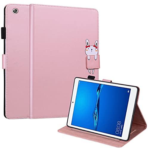 DodoBuy Funda para Huawei MediaPad M5 Lite de 10 pulgadas, Animal Modelo Flip Magnético Wallet Case Proteccion Cover Carcasa Piel PU Billetera Soporte con Ranuras Tarjetas - Oro Rosa