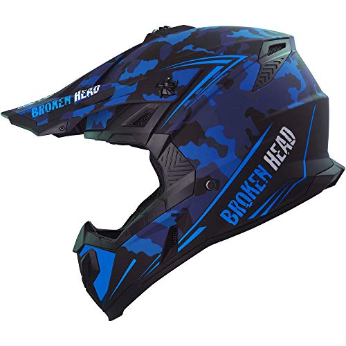 Broken Head Squadron Rebelution Camouflage Blau - MX Motocross Helm - Quad-Helm - Sumo-Helm (L (59-60 cm))