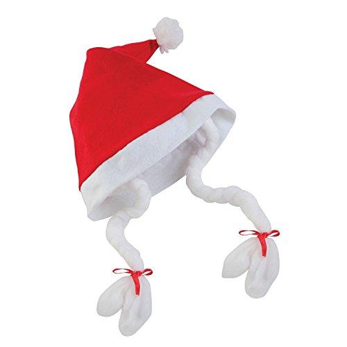 christmasshop Cappello di Babbo Natale da Donna con trecce (Taglia Unica) (Rosso)
