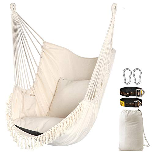 Chihee Sedile sospeso Altalena 2 cuscini inclusi, robuste cinghie in tessuto e ganci per appendere facilmente Sedia sospesa in tessuto di cotone morbido Tasca laterale Set di sedie con nappe grande