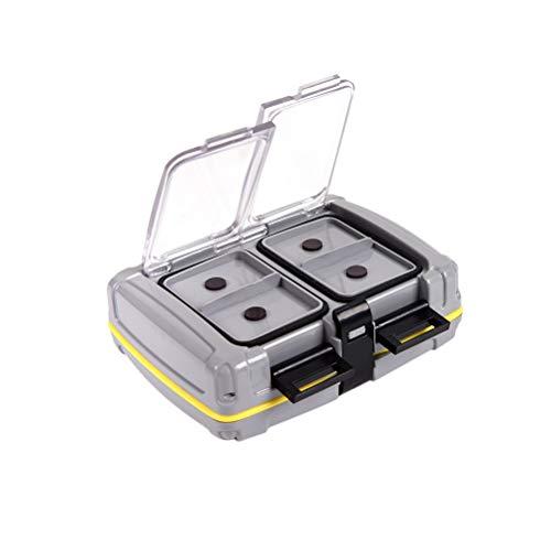LIOOBO Angelhaken Box mit Magnet Haken Kleinteile Box Wasserdicht Fishing Tackle Box Angel Zubehör (Grau)