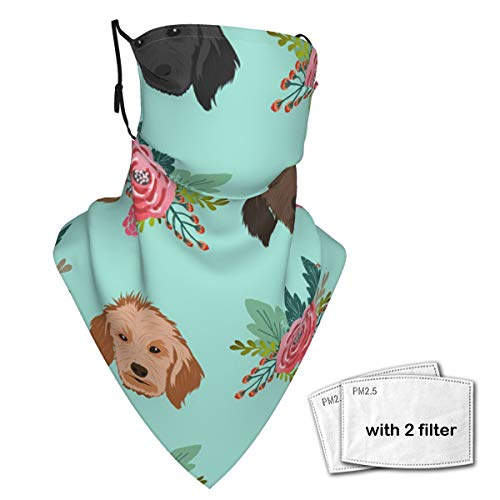 Doodle Dog Neck Gaiter Face Scarf Bandanas Wind Sun Protection, Multi-Purpose Cloth mask Balaclava for Outdoor Hiking Cycling Running