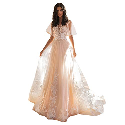 HYC A Line Wedding Dress Beach Boho Bride Gown Appliques Lace Puffy Sleeves Button Dress