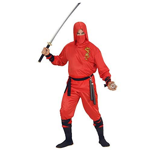 Widmann 01331 - Erwachsenenkostüm Dragon Ninja, Oberteil mit Kapuze, Hose, Gürtel, Gesichtsmaske, rot
