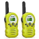 Sorulykin Walkie Talkies para niños de 8 canales, PMR 446MHZ sin licencia, hasta 3300 metros de alcance, interfono portátil, radio de 2 vías, equipo de aventura para acampar, caminar, juegos, 2 piezas
