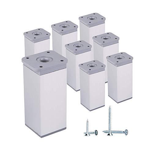 (Paquete de 8 piezas) Patas de muebles de altura ajustable Perfil angular:...