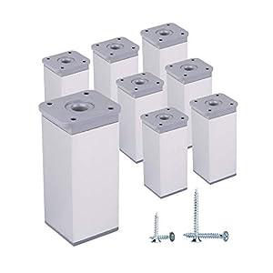 Pack de 8 Piernas de muebles ajustables en altura Perfil angular: 40 x 40 mm, Materiales: plástico, aluminio, tornillos incluidos (8, 10 cm de altura)