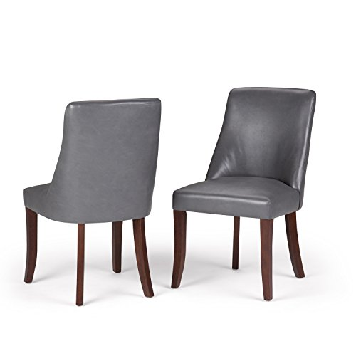 Simpli Home Walden Contemporary Deluxe Dining Chair (Set of 2) in Stone Grey Faux Leather