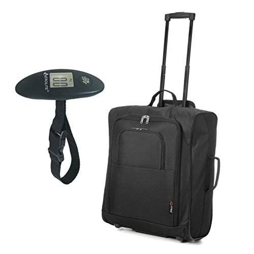 easyJet, British Airways, Jet2 56x45x25 Maximum Cabin Hand Luggage Approved Trolley Bag, Huge 60L Capacity (Black easyJet/BA 56cm Max + Scales)