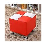 77SRF Banco Cubo de Zapatos otomana Puff Cubo Taburete del pie Multifuncional de Cuero de imitación por estrado de la Sala de Estar Dormitorio Oficina RENFU (Size : Red+White)