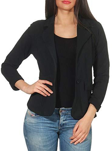malito dames Blazer in effen kleuren | Korte jas met knopen | Jersey jasje in Basic Look | Jasje 1654