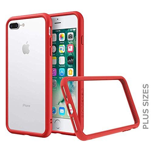RhinoShield Bumper Compatible with [iPhone 8 Plus / 7 Plus]   CrashGuard NX - Shock Absorbent Slim Design Protective Cover [3.5M / 11ft Drop Protection] - Red