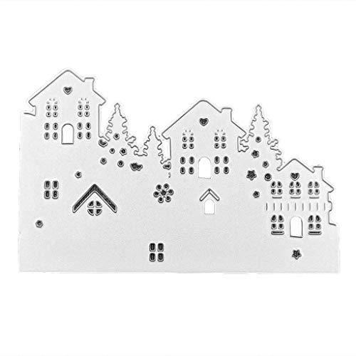 Balain Stanzschablonen Carbon Stahl Baum Haus Muster schneiden Sterben Form für DIY Weihnachtskarte Kunst Handwerk Dekor Cutting Dies