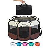 Vipada BOOBUNNY Pet Tent Playpen Portable Carrying Case Dog Cat Rabbit Kennels Foldable Bed Removable Mesh Shade Cover One- Step Open Water Resistant (Medium(29' x 29' x 17') with Free Bonus, Beige