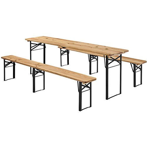 Juskys Holz Bierzeltgarnitur 220 x 50 cm | klappbar | 3-teilig | 2 Bierbänke & Biertisch | Festzeltgarnitur Biertischgarnitur Gartenmöbel-Set