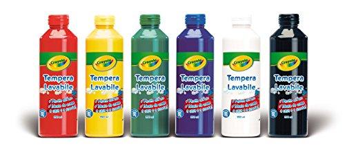 tempere colori primari Crayola - 6 Bottiglietti di tempera lavabile 250ml/cad 3926