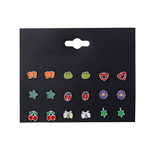 Buwei 9 Paia di Orecchini a Bottone con Gufo Farfalla e Volpe con Frutta di Piccoli Animali, Carino per Bambini