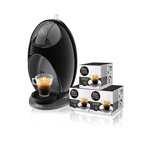 Pack De'Longhi Dolce Gusto Jovia EDG250.B - Cafetera de cápsulas, 15 bares de presión, color negro + 3 packs de café Dolce Gusto Espresso Intenso