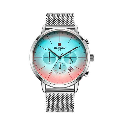 Reward Uhr, Reward Uhren Mit 6 Zeigern Wasserdichtes Multifunktionales Verschleißfestes Kratzfestes Mesh-Gurt Armbanduhr