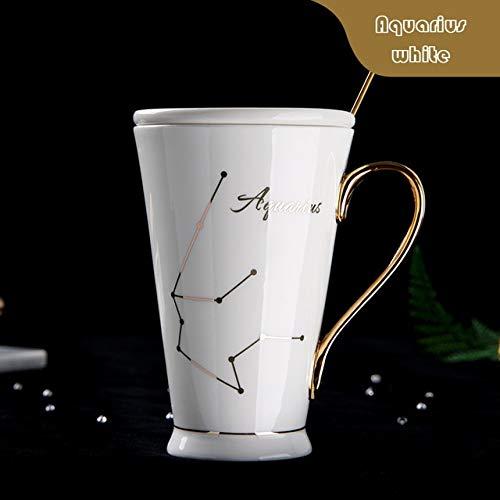 GFHTH Kaffeetassen 12 Sternbilder Becher Weiß Und Gold Porzellan Porzellan Kaffeemilch Becher Mit Edelstahl Löffel Keramik Tasse Schwarzer Henkel Wassermann Weiß